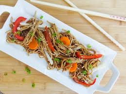 chilled summer soba noodle salad serve over quick steamed vegetables local and fresh and sesame and
