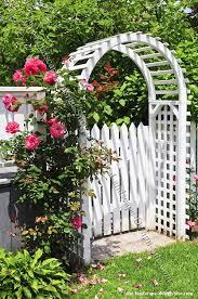 picket fence gate with arbor. Cottage Garden Design Style White Picket Fence, Gate, Arbor, And The Use Of Rose Combined Creates A Style. I Can Imagine Walking Through That Fence Gate With Arbor