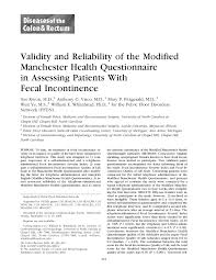 Validity And Reliability Of The Modified Manchester Health
