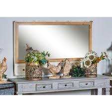 litton lane rectangular brown decorative wall mirror 14883 the home depot