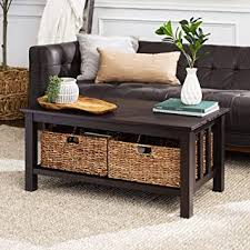Mission & craftsman coffee, console, sofa & end tables : Amazon Com Walker Edison Alayna Mission Style Two Tier Coffee Table With Rattan Storage Baskets 40 Inch Espresso Furniture Decor
