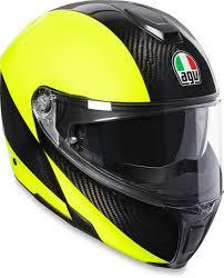 Details About Agv Sport Modular Carbon Motorcycle Helmet Hi Vis Yellow