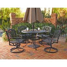 home styles biscayne 48 in black 5 piece round swivel patio dining set