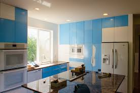 blue high gloss kitchen