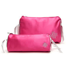 travel makeup bag set in pionate pink