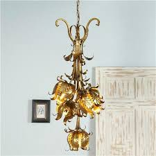 antique italian 5 light gold lily chandelier