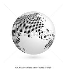 Planet Earth Globe With Black Squared Map Of Continents Asia 3d