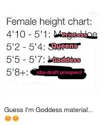 Female Height Chart 4 100 511 52 54 Squeens 55 57