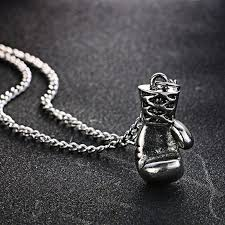 details about silver plated alloy boxing glove pendant and chain necklace hip hop