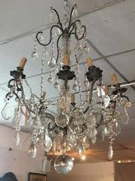 large antique original french crystal chandelier silver plated