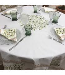 provence round tablecloth in cotton clos des oliviers off white nappe ronde en coton clos des oliviers ecru