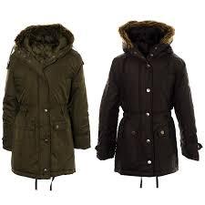girls retro warm parka jacket fish tail fur trim hooded school winter coat black khaki