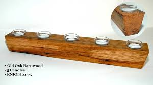 reclaimed wood sugar mold candleholder with tealights glass votive holders