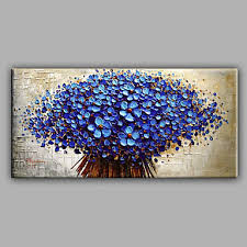 blue knife flowers floral oil painting canvas wall art with stretched frame ready to hang on canvas wall art cheap with blue knife flowers floral oil painting canvas wall art with