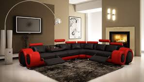 4087 red and black bonded leather sectional sofa with recliners