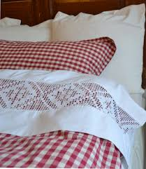 pretty cheery sheets duvet and shams red and white gingham check bedding and