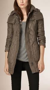 Burberry Diamond Quilted Field Jacket With Panel Detail featuring ... & Diamond Quilted Coat Mink Grey | Burberry Adamdwight.com