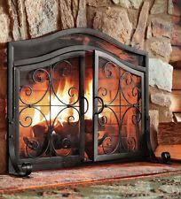 iron fireplace screen. Fireplace Screen Door Black Fire Large Guard Wrought Iron Ornamental Scroll W