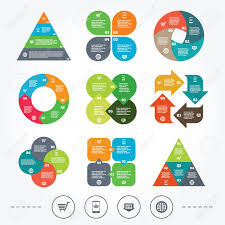 Circle And Triangle Diagram Charts Online Shopping Icons Smartphone