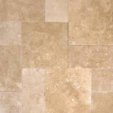 tuscany walnut travertine tumbled in versailles french pattern paver tile for driveway pool deck and patio each pattern kit 16 sqft