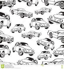Uitstekend Auto Naadloos Patroon Zwart Witte Retro