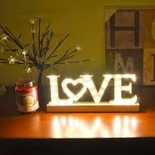 34 Led Wooden Love Letters Lamp Light Warm White Window Battery