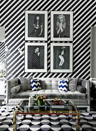 Interior Design Black And White Living Room Graphic To The Max Diagonal Stripe Wallpaper Graphic Wave Rug