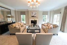 Taupe Living Room Transitional Formal Carpeted Idea In Surrey With Beige Walls