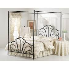 Dover Textured Black Queen Canopy Bed