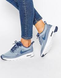 Air Max Thea Size Chart Nike Nike Blue Grey Air Max Thea Textured Trainers At