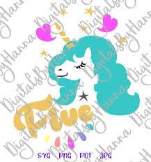 Hand drawn cute unicorn for t shirt printing. Five Unicorn Svg 5th Birthday Face Head Year Invitation Outfit Word Print Tshirt Svg Files For Cricut