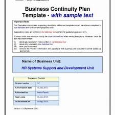 Small Business Continuity Plan Template Valid Bcp Plan Template ...