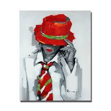 <b>Handmade Oil Painting Pop</b> Art Figure Wear Red Hat Handsome ...