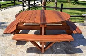 image of round picnic table bench