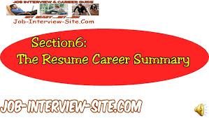 Resume Career Summary How To Write A Career Summary On Your