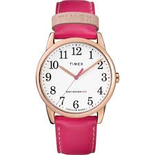 timex women s easy reader color pop 38mm leather pink dress watch tw2r99400 0