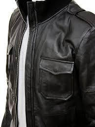 men s black leather er jacket belgrade side