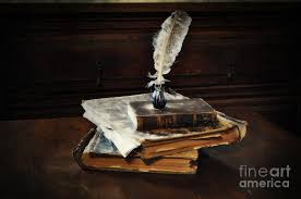 wooden chest photograph old books and a quill by mary machare