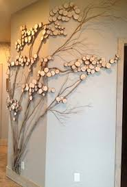 Refining tree art, twig art for wall decor, wall art with mountain laurel  twigs, wood slices (Kids Wood Crafts Decor)