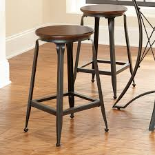 metal bar stools with wood seat. Round Black Metal Bar Stool With Brown Wood Seat And Four Legs Also Footrest On The Floor Stools T