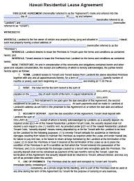 Simple Rental Lease Agreement Free Hawaii Standard Residential Lease Agreement Template