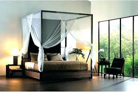 Wicker Platform Bed Decorative Canopy Also White Sheer Curtain And ...