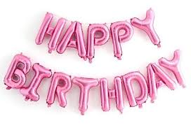 Pink Happy Birthday Balloon Letters