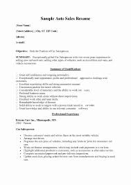 Cover Letter Examples For Car Sales Fresh Sales Resume