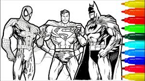 Dual color justice league superman comic book superhero   etsy. Spiderman Superman Batman Coloring Pages Colouring Pages For Kids With Colored Markers Youtube