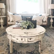 white distressed coffee and end tables table round living room shabby 18