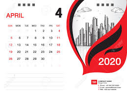April 2020 Template Desk Calendar 2020 Template Vector April 2020 Month Business