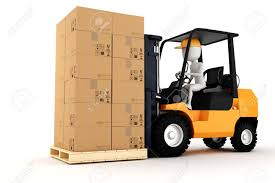 3d Man Worker Driving A Forklift Stock Photo Picture And Royalty
