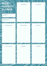 Design Schedule Template Blue And White Floral Pattern Work Schedule Planner