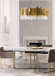 gold crystal statement light in grey marble dining room luu net